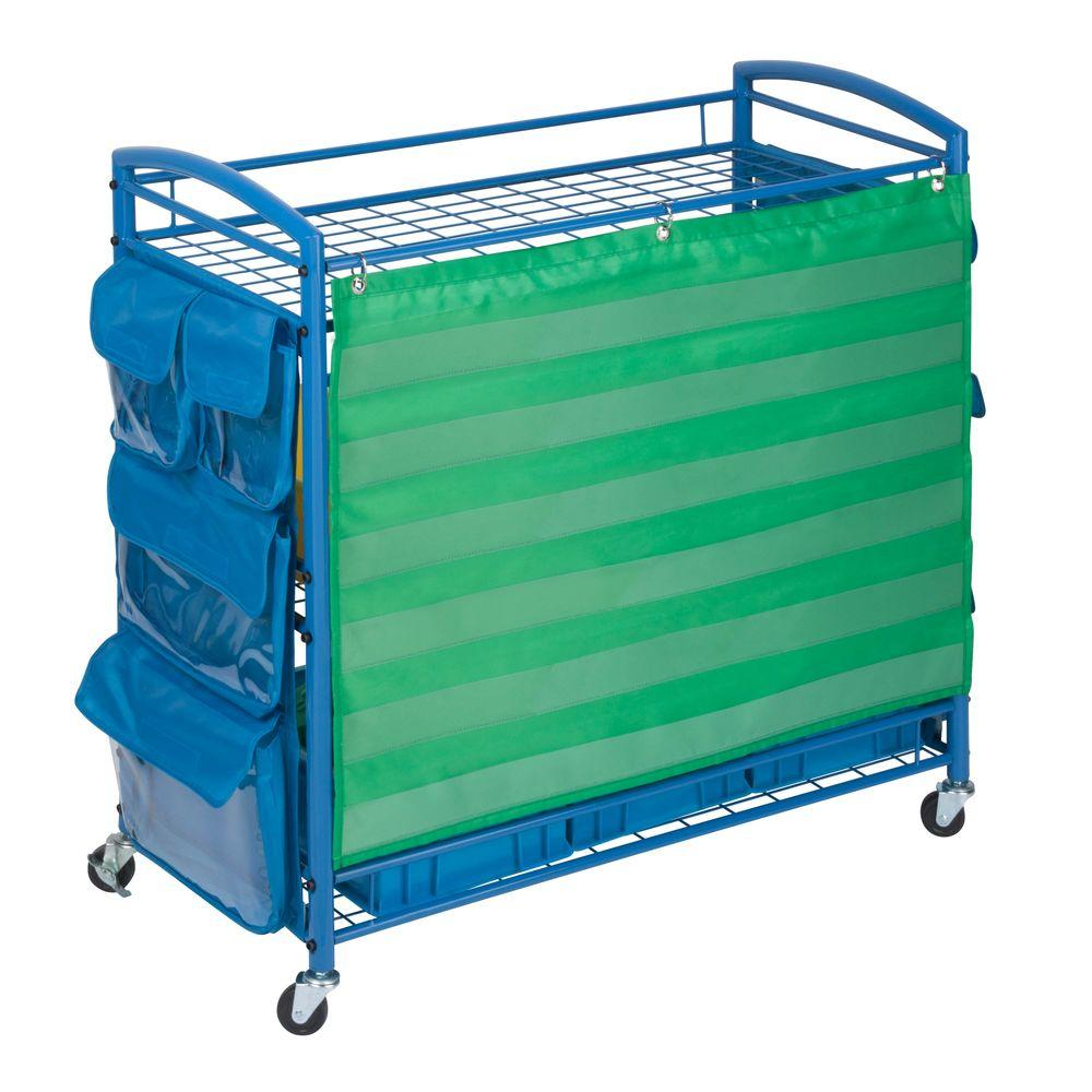 3-Tier Steel Wheeled All Purpose Teaching Cart in Blue