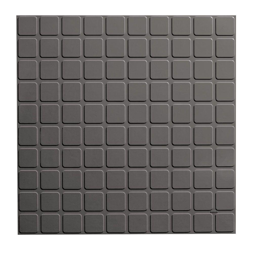 ROPPE Square Design 19.69 in. x 19.69 in. Dark Gray Rubber Tile