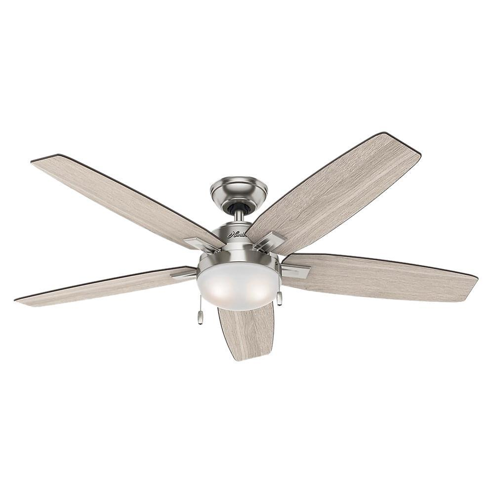 Hunter Antero 54 in. LED Indoor Brushed Nickel Ceiling Fan with Light