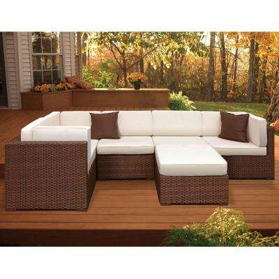 Bellagio Brown 6-Piece Patio Sectional Seating Set with Off-White Cushions