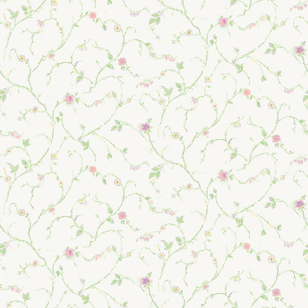 The Wallpaper Company 56 sq. ft. Pastel Floral Trail Wallpaper