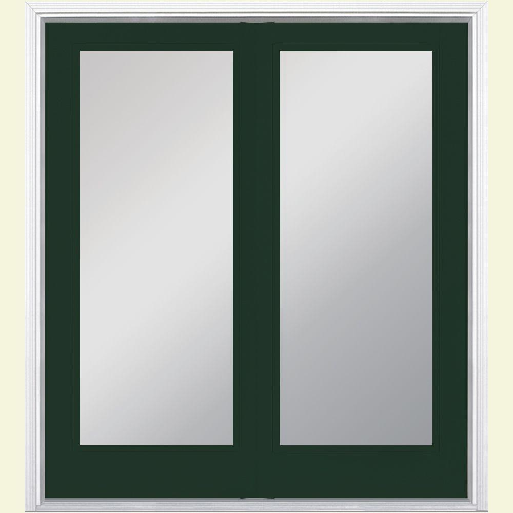 Masonite 60 in. x 80 in. Conifer Prehung Left-Hand Inswing Full Lite Steel Patio Door with No Brickmold in Vinyl Frame
