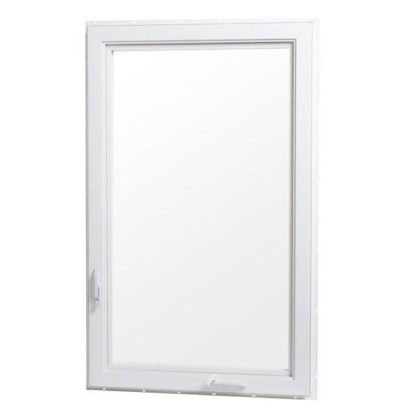 30 in. x 48 in. Right-Hand Vinyl Casement Window with Screen - White