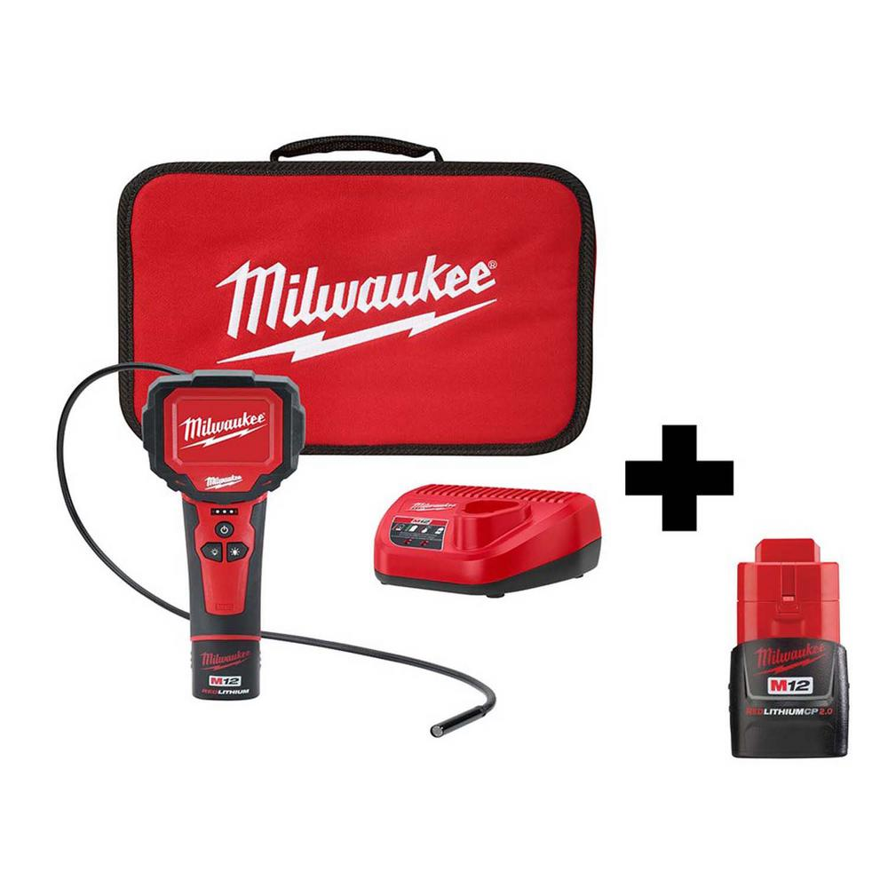 Milwaukee M12 12-Volt Lithium-Ion Cordless M-Spector 360° Digital Inspection Camera Kit with Free M12 2Ah Compact Battery was $258.0 now $129.0 (50.0% off)