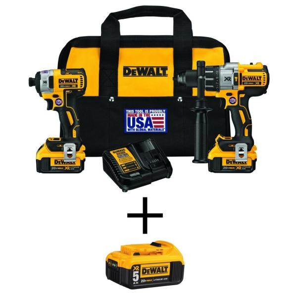 DEWALT 20-Volt MAX XR Lithium-Ion Cordless Brushless Hammer Drill/Impact Combo Kit (2-Tool) with Bonus 5.0 Ah Battery Pack