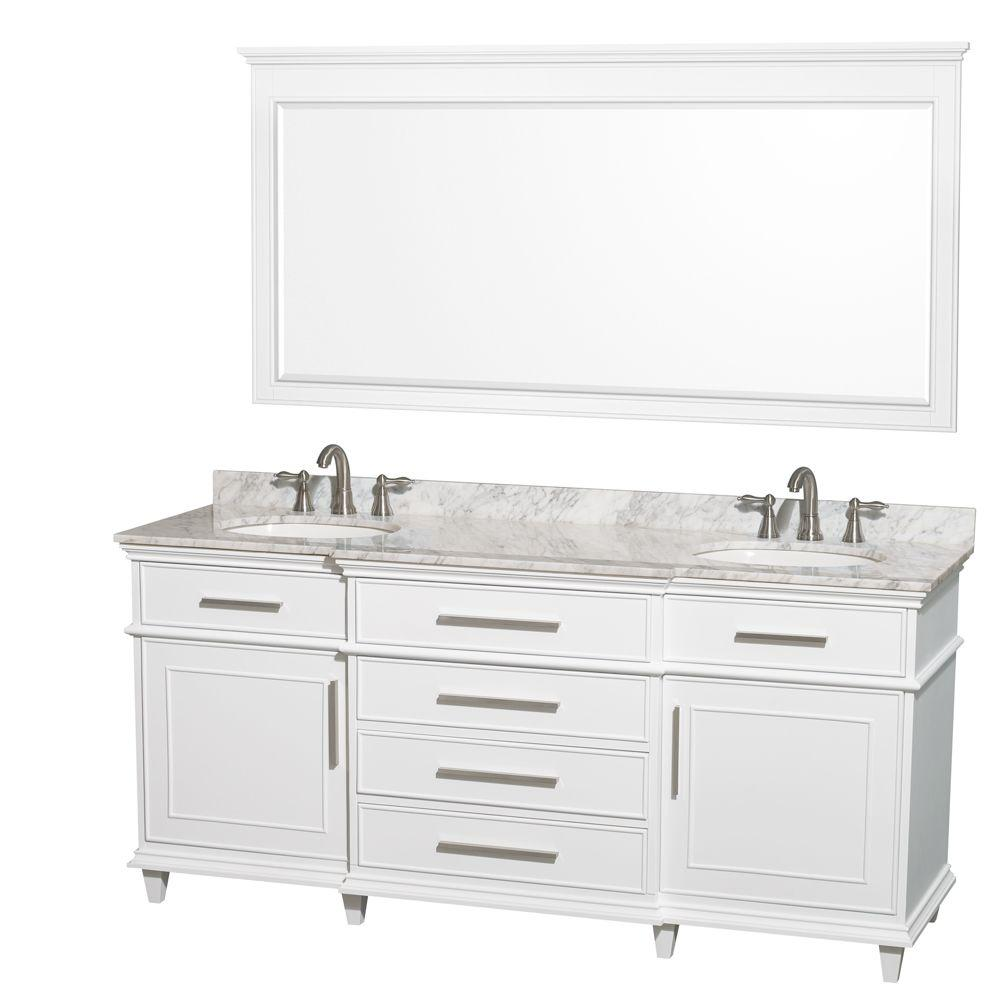 Wyndham Collection Berkeley 72 In Double Vanity White With Marble Top Carrara Oval Sink And 70 Mirror