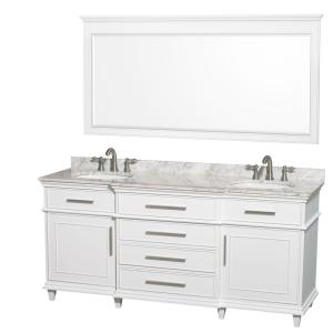Wyndham Collection Berkeley 72 inch Double Vanity in White with Marble Vanity Top in Carrara White, Oval Sink and 70... by Wyndham Collection