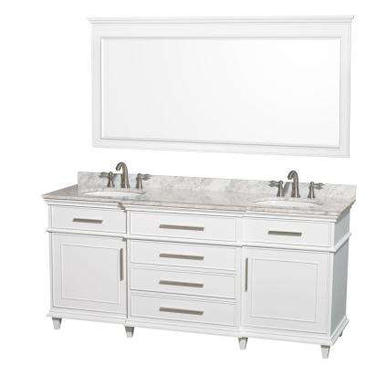 Berkeley 72 in. Double Vanity in White with Marble Vanity Top in Carrara White, Oval Sink and 70 in. Mirror