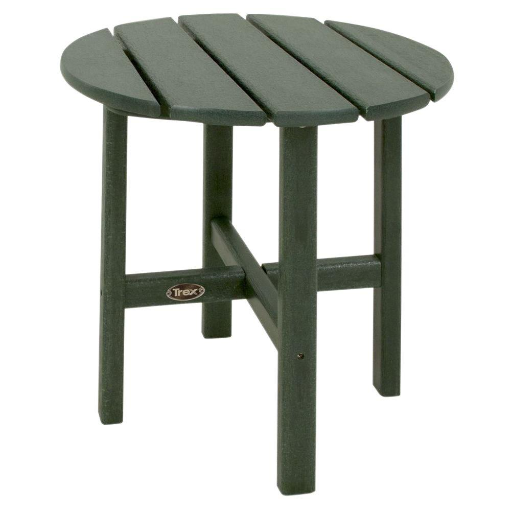 Cape Cod 18 in. Rainforest Canopy Round Plastic Outdoor Patio Side