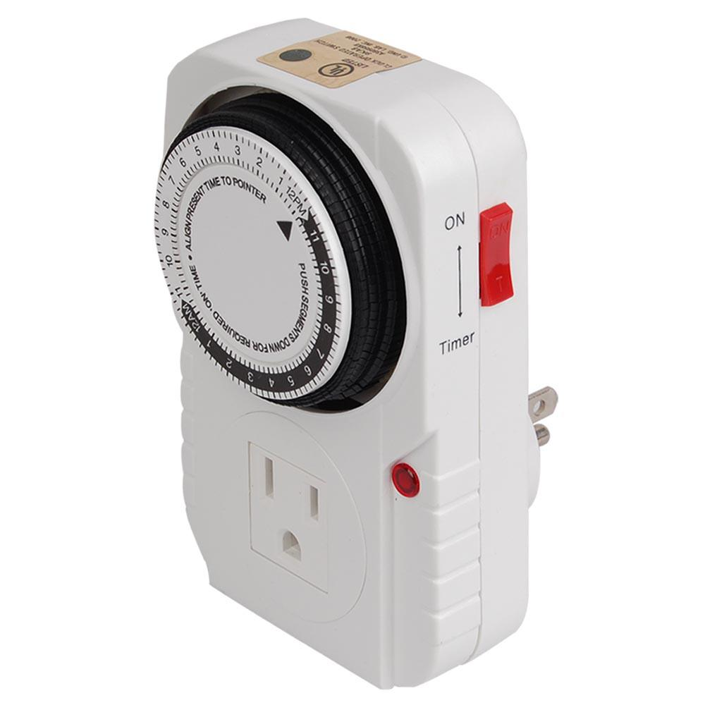 15 Amp 24-Hour Heavy Duty Mechanical Dial Timer with 1-Grounded Outlet
