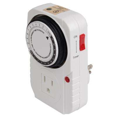 15 Amp 24-Hour Heavy Duty Mechanical Dial Timer with 1-Grounded Outlet for Lighting and Appliances