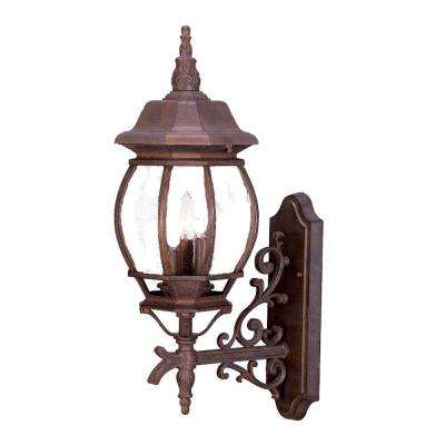 Chateau Collection 3-Light Burled Walnut Outdoor Wall-Mount Light Fixture