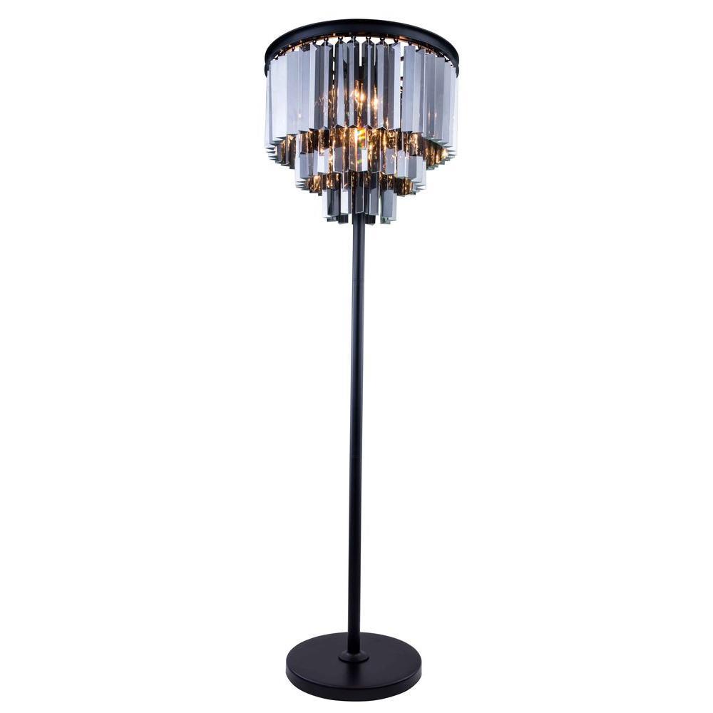 Sydney 63 in. Mocha Brown Floor Lamp with Silver Shade Grey Crystal