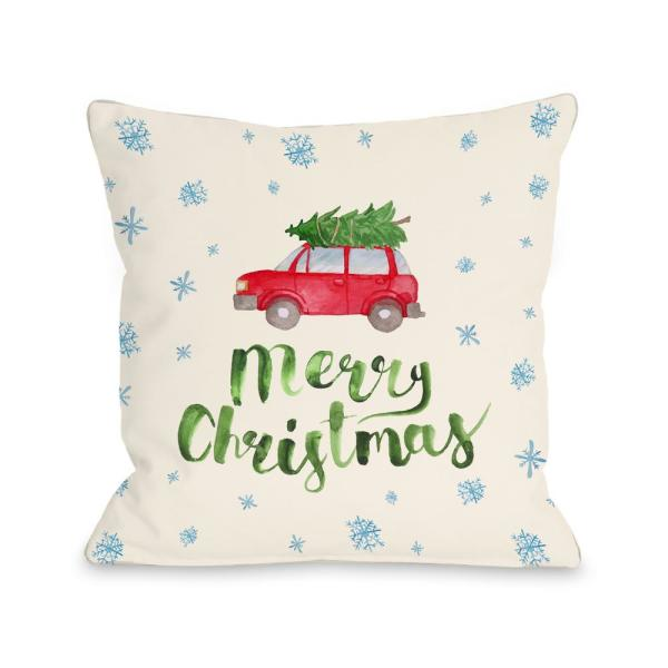 undefined Merry Christmas Car Tree 16 in. x 16 in. Decorative Pillow