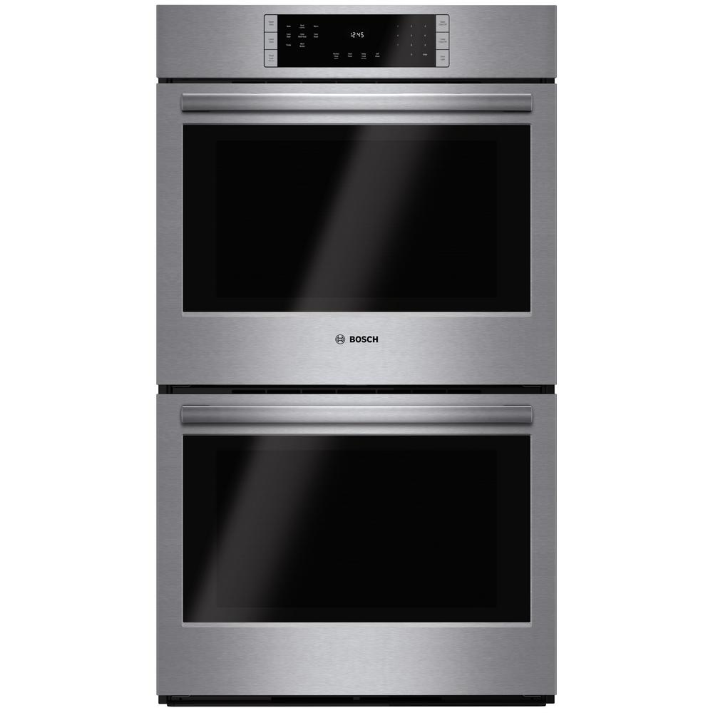 Bosch 800 Series 30 in. Double Electric Wall Oven with European Convection in Stainless Steel Self Clean Touch Controls