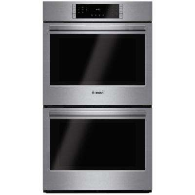 800 Series 30 in. Double Electric Wall Oven with European Convection in Stainless Steel Self Clean Touch Controls