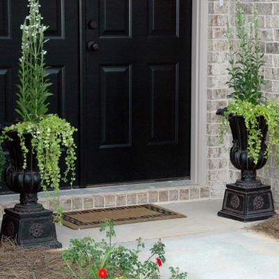 16-1/4 in. x 26-1/2 in. Cast Stone Urn on Pedestal in Aged Charcoal
