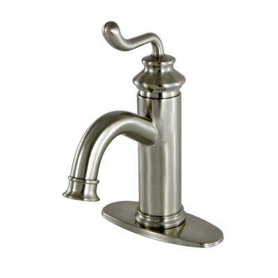 Modern Single Hole 1-Handle High-Arc Bathroom Faucet in Satin Nickel