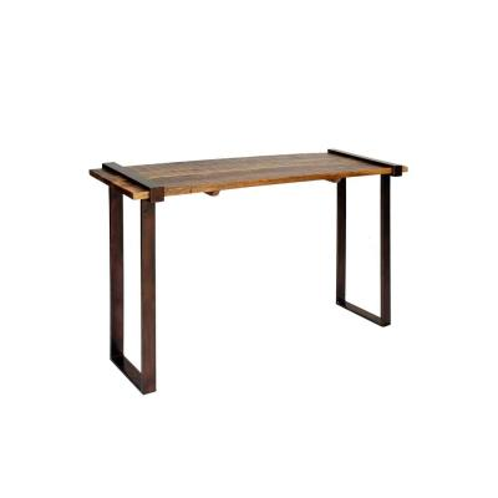 Natural/Dark Bronze Strap Iron Coarse Rough-Cut Console Table