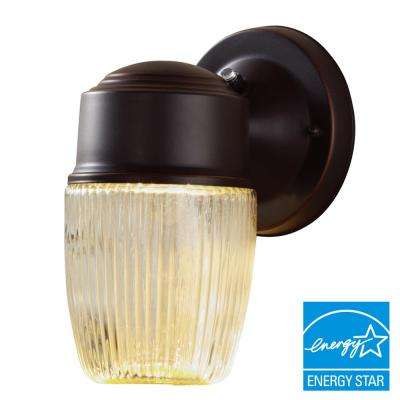 Dusk-to-Dawn Oil-Rubbed Bronze LED Outdoor Wall Lantern