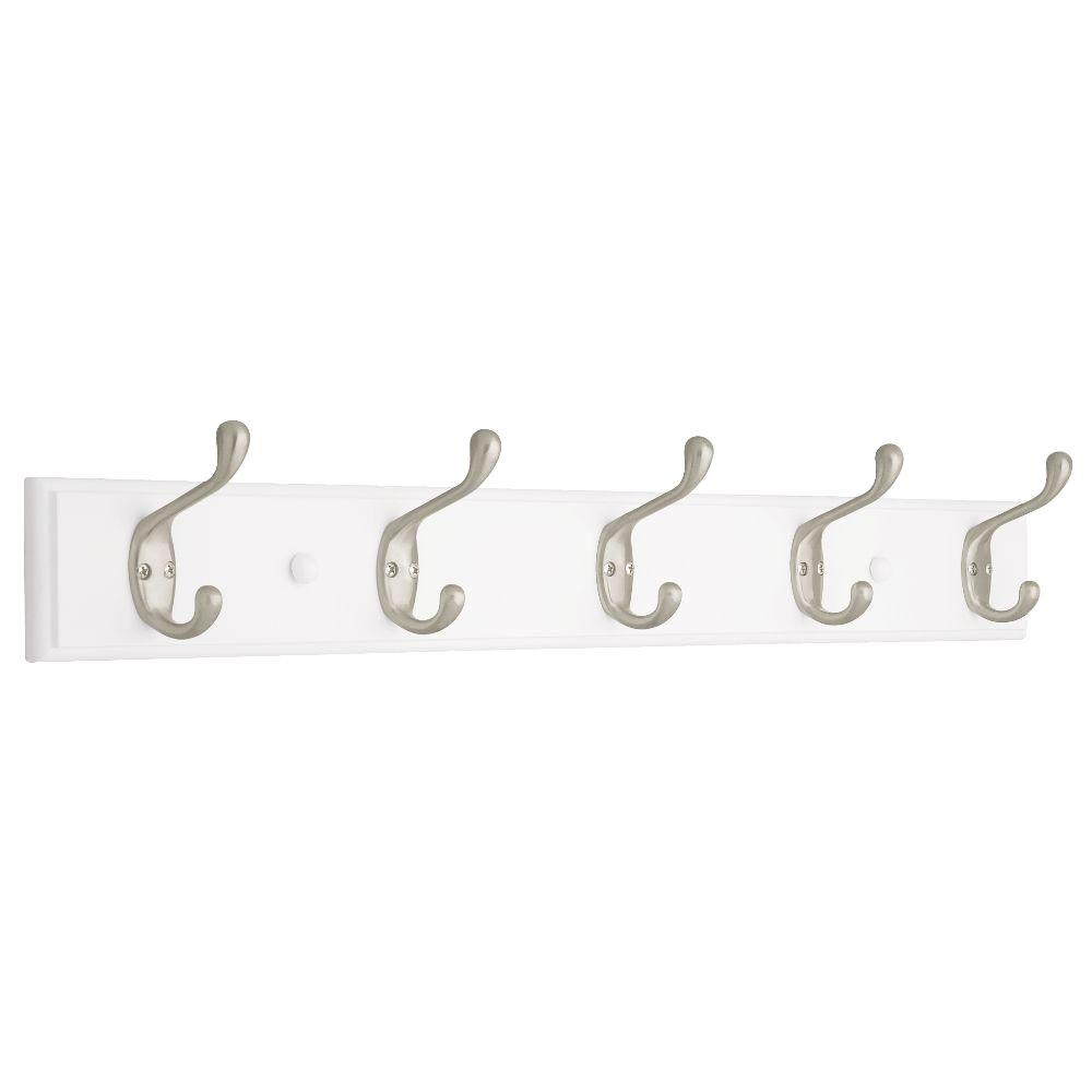 Liberty 27 in. White and Satin Nickel Heavy Duty Coat and Hat Hook Rack