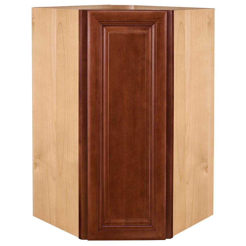 Home Decorators Collection 24x30x24 in. Lyndhurst Assembled Wall Angle Corner Cabinet in Cabernet