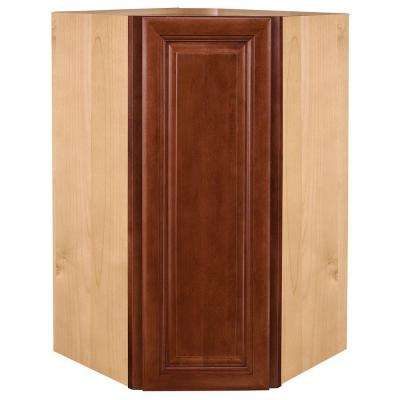 Lyndhurst Assembled 24x36x12 in. Single Door Hinge Left Wall Kitchen Angle Cabinet in Cabernet