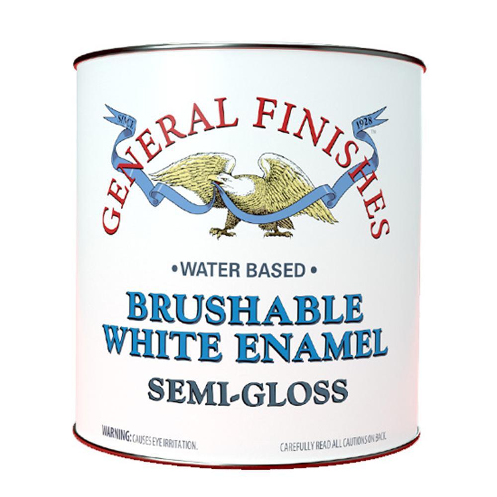 General Finishes 1 gal. Semi Gloss Interior Wood Brushable White Enamel