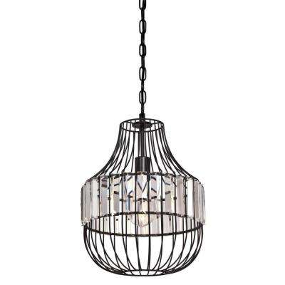 14-3/8 in. Matte Black Crystal Prism Cage Shade with 2-1/4 in. Fitter and 11-7/16 in. Width