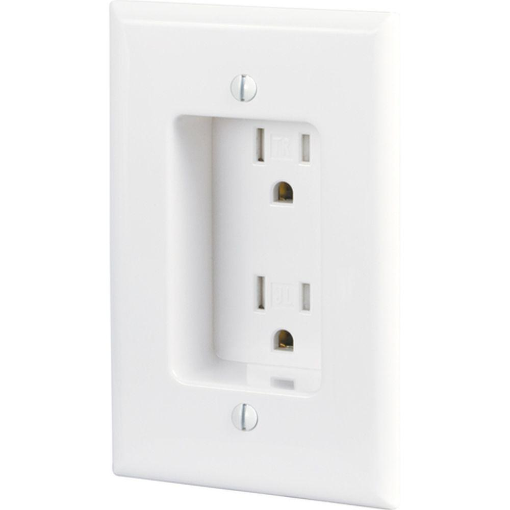 15 Amp Tamper Resistant Recessed Duplex Receptacle with Side Wiring -