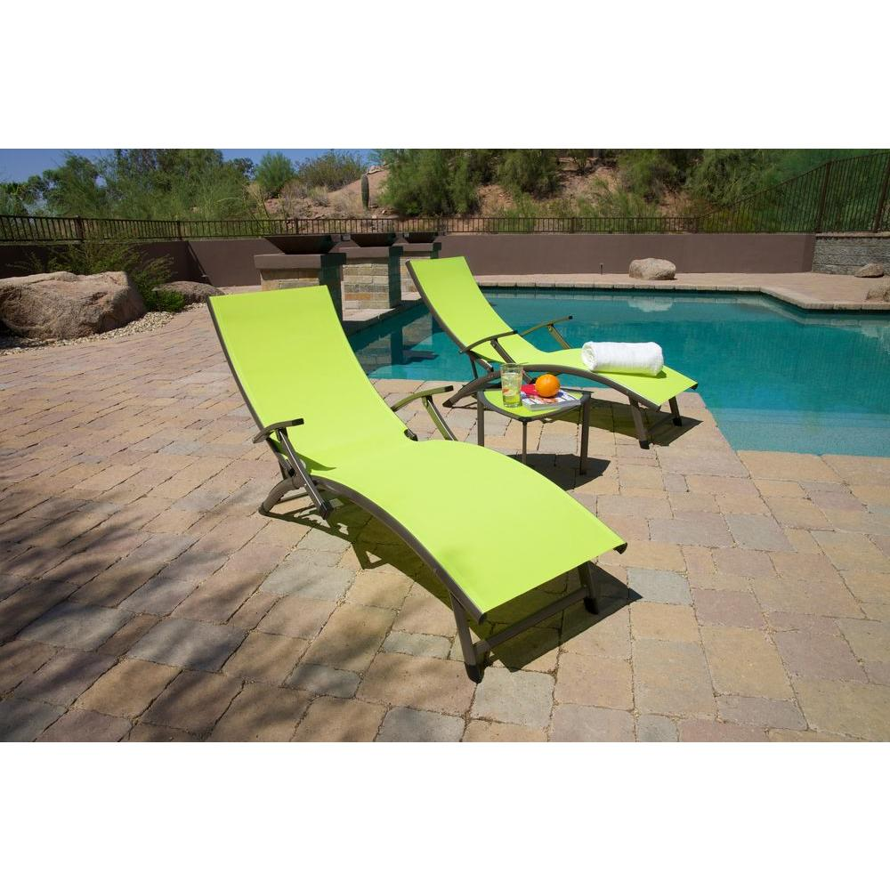 RST Brands Sol Sling Patio Chaise Lounge in Lime Green (2-Pack)