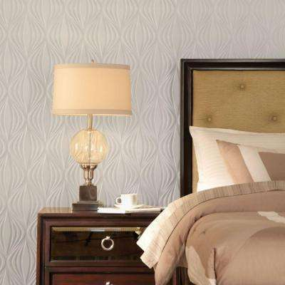 Shallot 96 in. x 48 in. Decorative Wall Panel in Crosshatch Silver