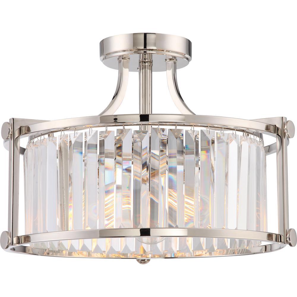 3-Light Polished Nickel Semi-Flush Mount