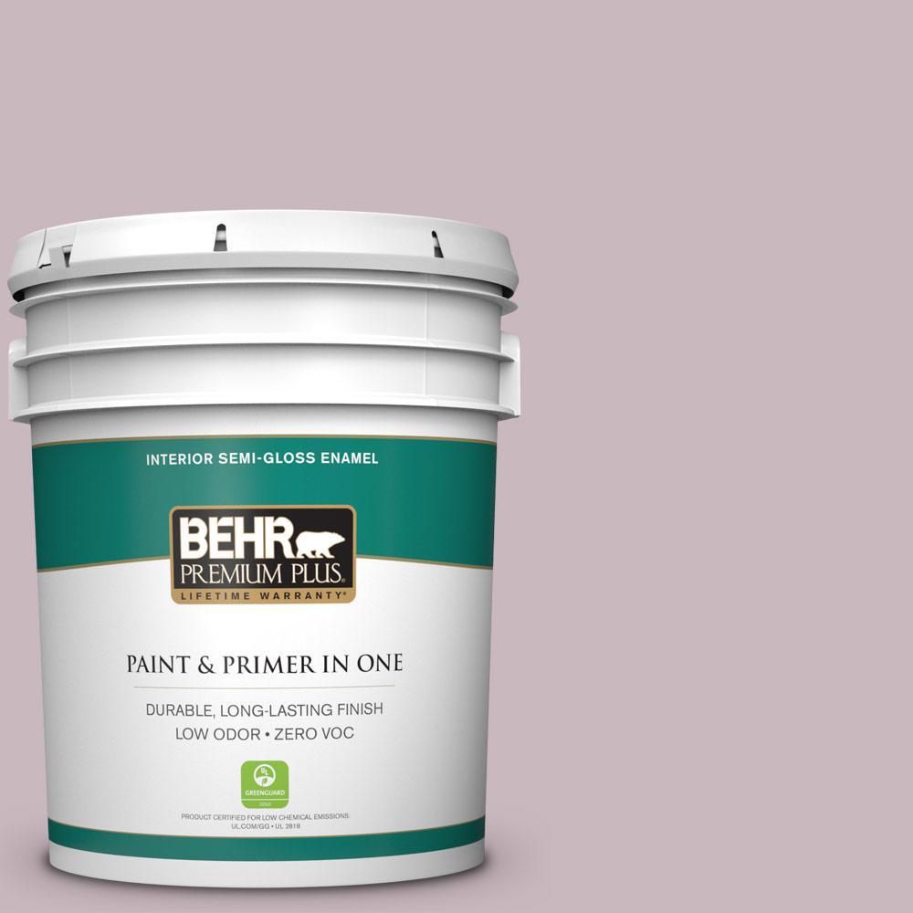 BEHR Premium Plus 5-gal. #690E-3 Iris Pink Zero VOC Semi-Gloss Enamel Interior Paint