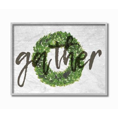 """11 in. x 14 in. """"Gather Boxwood Wreath Typography"""" by Daphne Polselli Framed Wall Art"""