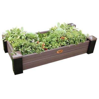 24 in. x 48 in. x 10 in. Maintenance Free Black and Walnut Vinyl Raised Garden Bed
