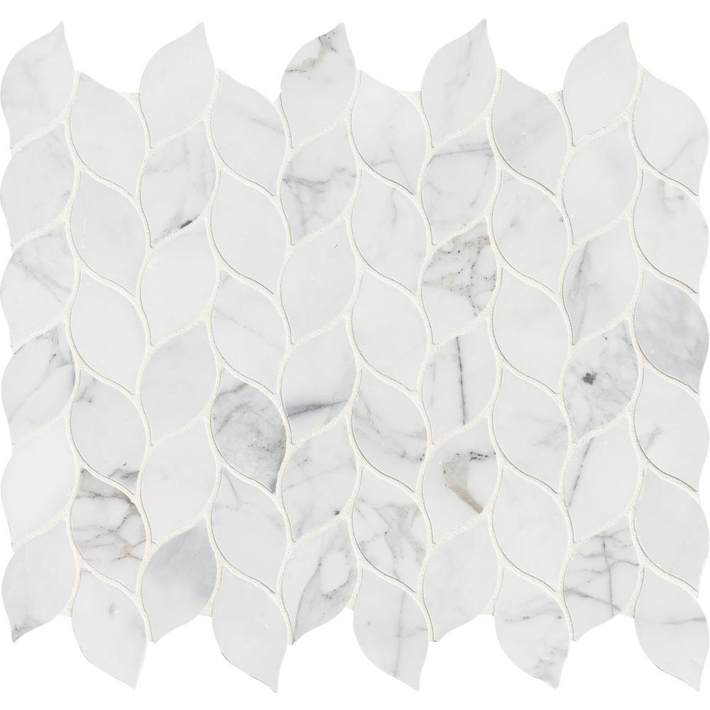 MSI Calacatta Blanco 12 in. x 13 in. x 10mm Polished Marble Mesh-Mounted Mosaic Tile