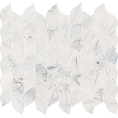Calacatta Blanco 12 in. x 13 in. x 10mm Polished Marble Mesh-Mounted Mosaic Tile (10.80 sq. ft. / case)
