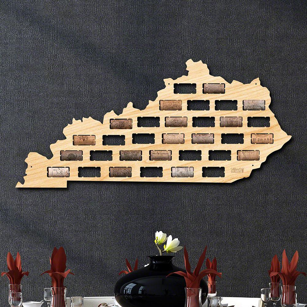 23.5 in. x 11 in. Kentucky Wine Cork Map