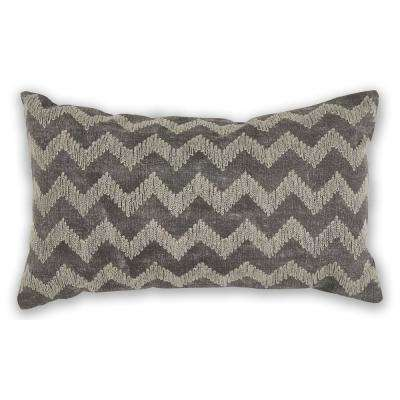 Grey Chevron 12 in. x 20 in. Decorative Pillow
