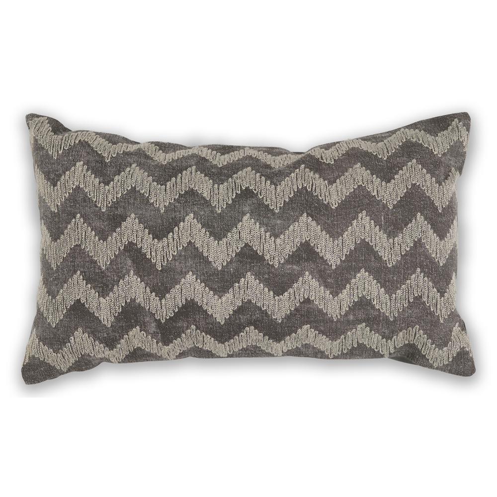 Grey Chevron 12 in. x 20 in. Decorative Pillow