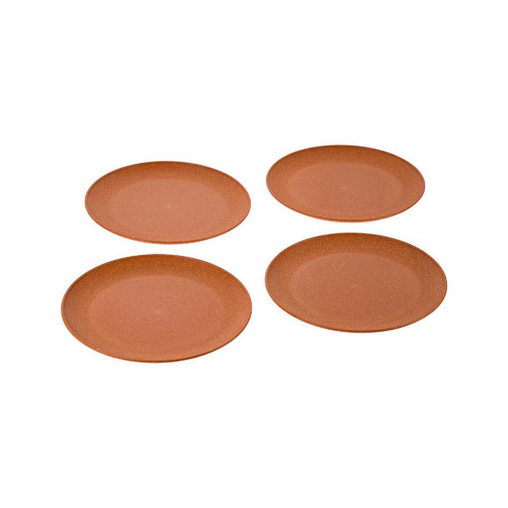 EVO Sustainable Goods 8 in. Orange Eco-Friendly Wood-Plastic Composite Plate (Set of 4)