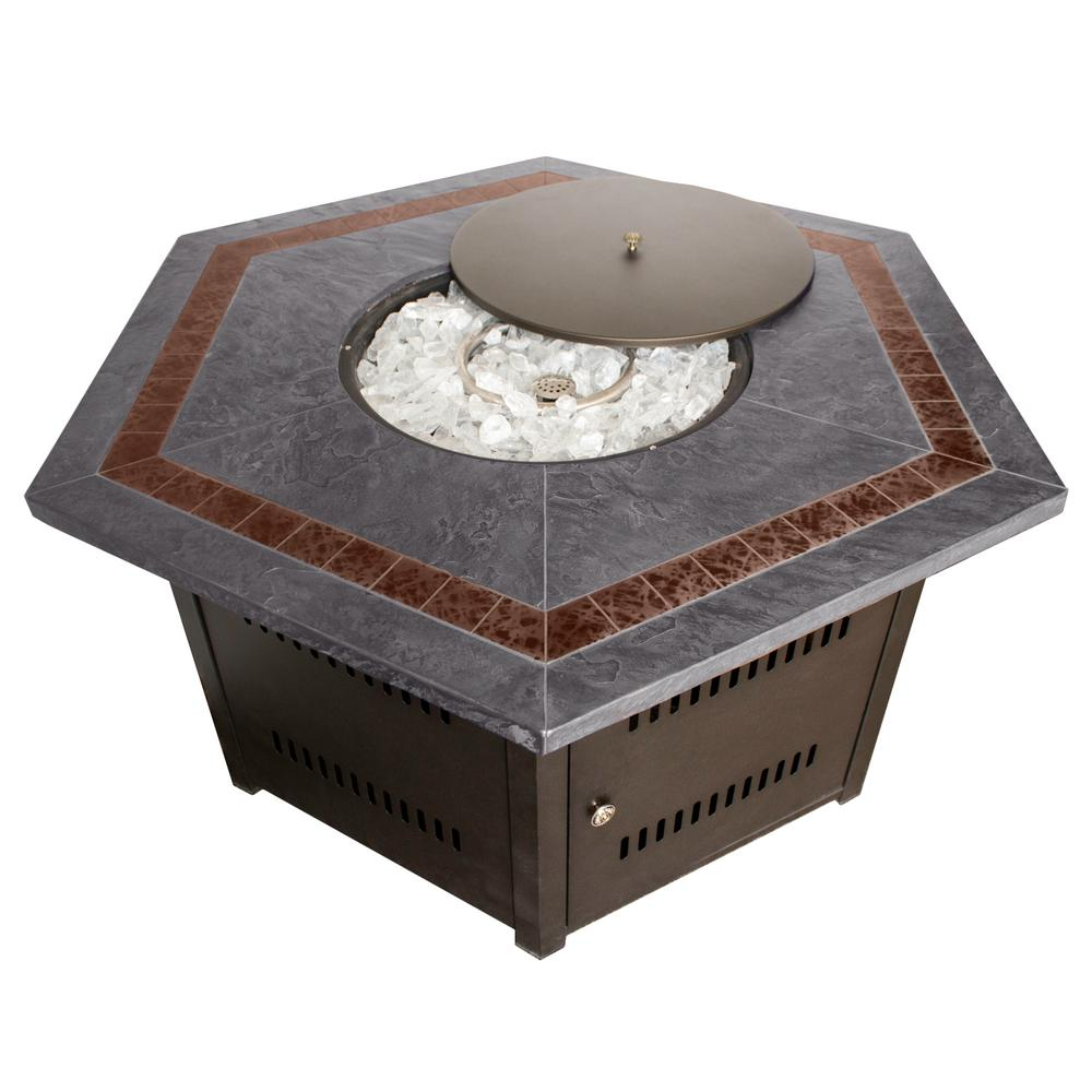 Steel Hexagon Firepit In Bronze