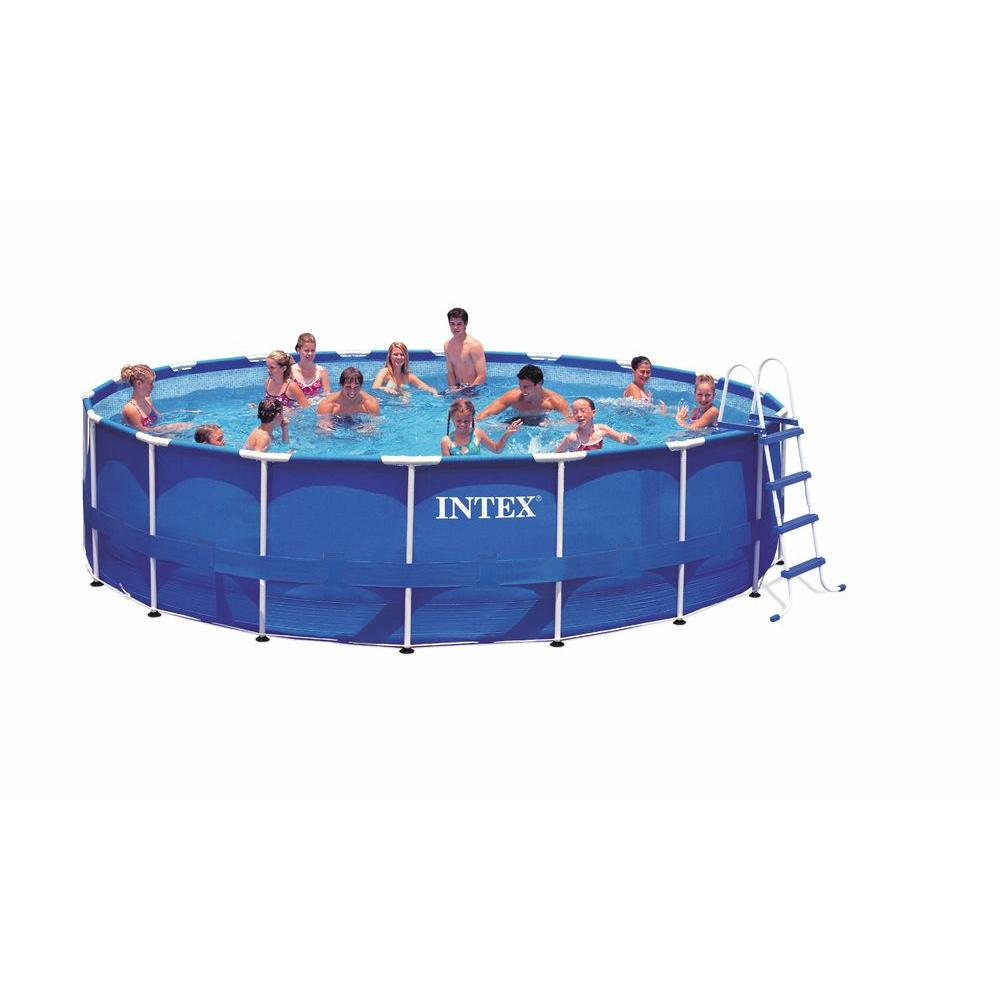 Intex 18 Ft X 48 In Above Ground Round Metal Frame Pool Set 28251eh The Home Depot