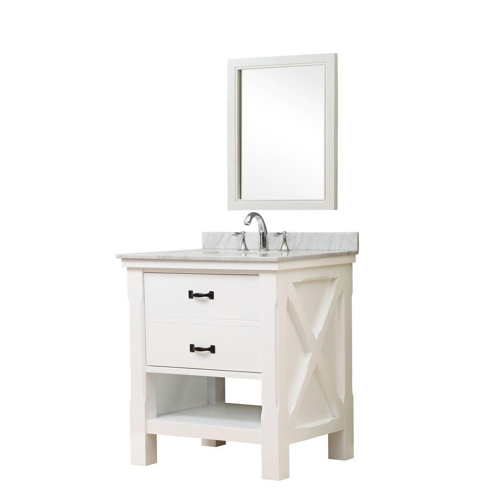 Direct vanity sink Xtraordinary Spa 32 in. Vanity in White with Marble Vanity Top in Carrara White with White Basin and Mirror