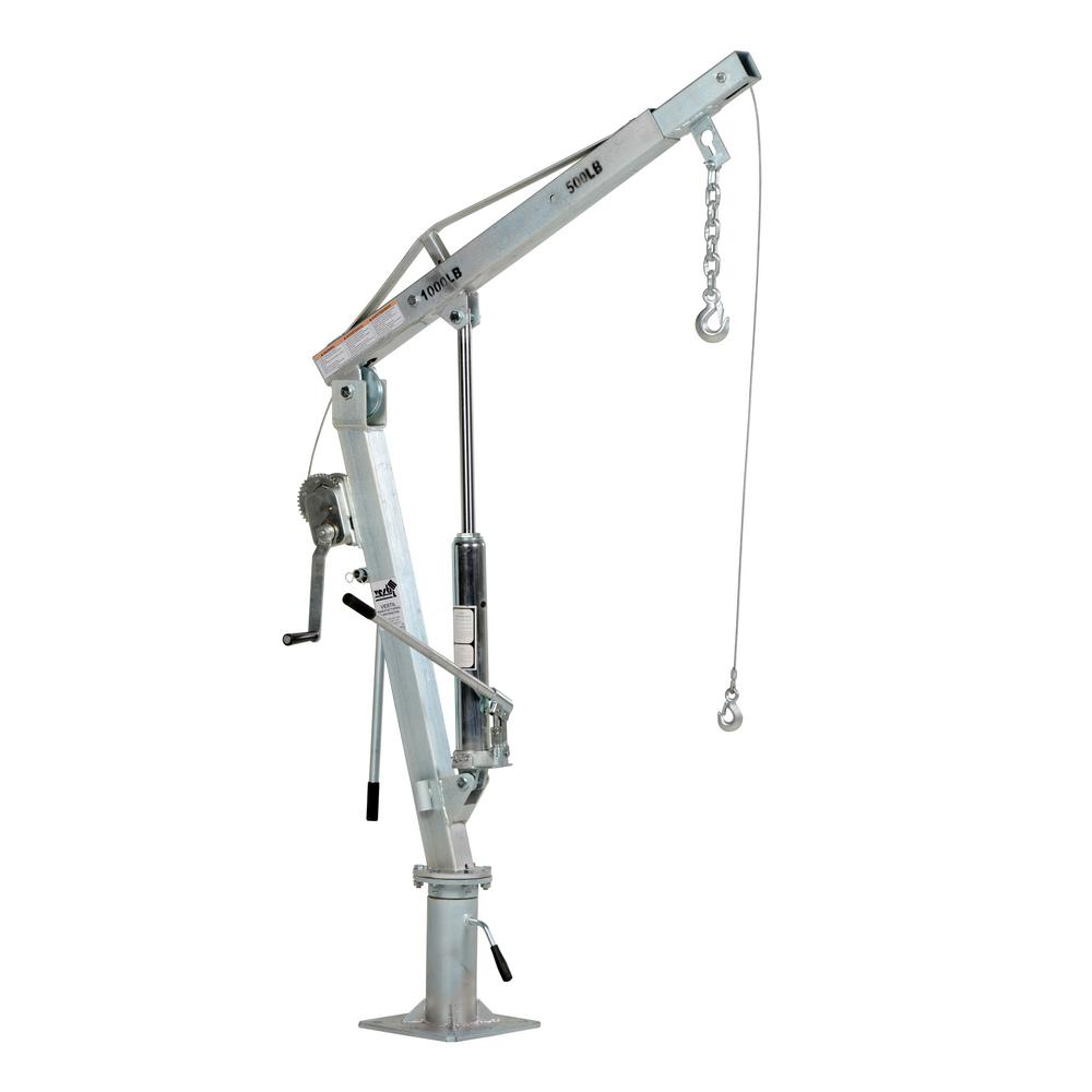 500 lb. Extended Capacity Galvanized Winch Operated Truck Jib Crane