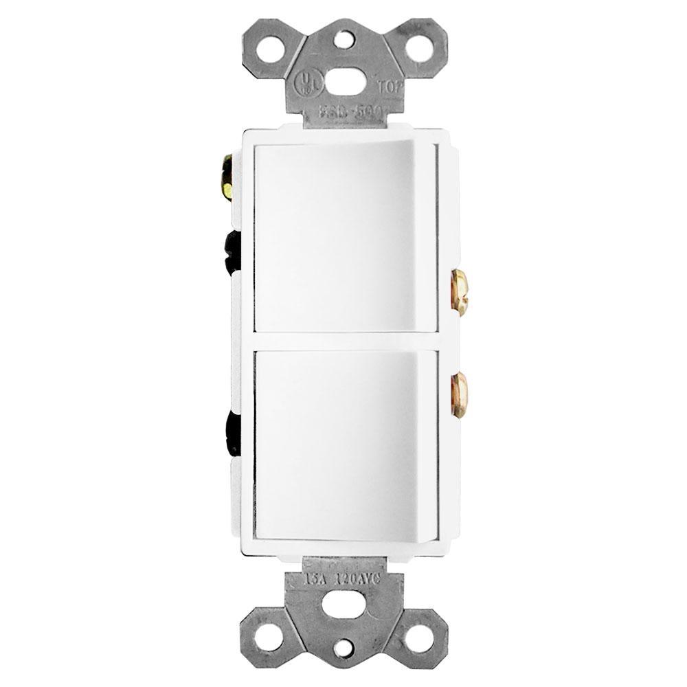 GTRTECHNOLOGIES GTR TECHNOLOGIES 2-Function Rocker Combination Switch in White (120-Volt, 15 AMP(X2))
