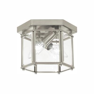 Bretton 2-Light Brushed Nickel Flush Mount with Dimmable Candelabra LED Bulb