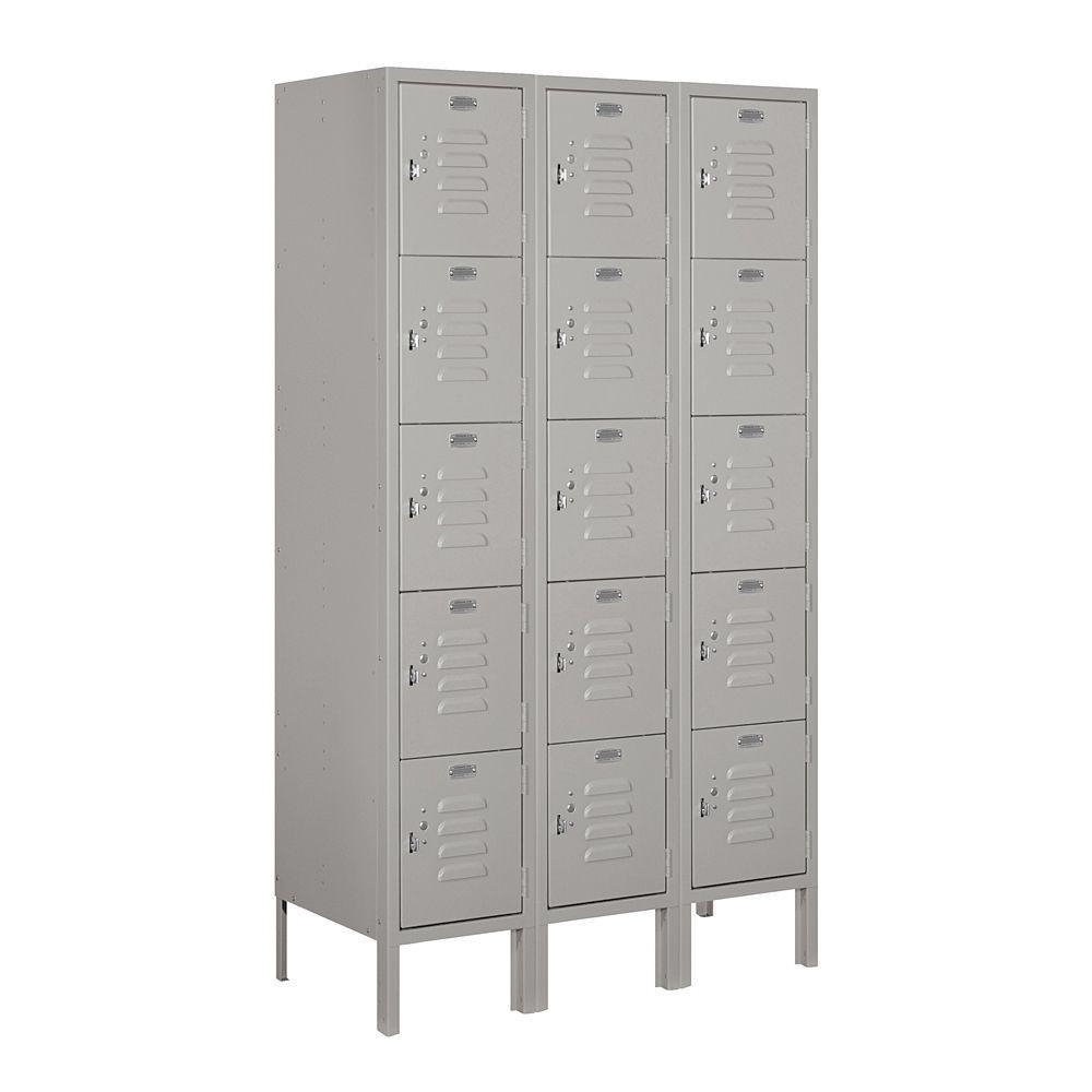 Salsbury Industries 65000 Series 36 in. W x 66 in. H x 15 in. D Five Tier Box Style Metal Locker Unassembled in Gray