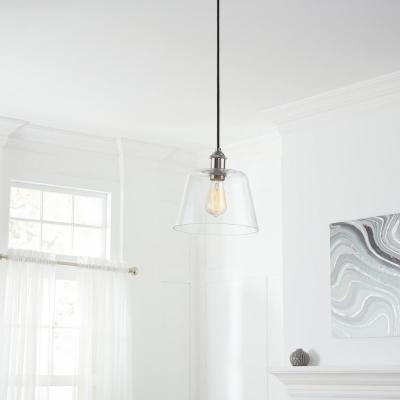 Sherman 1-Light Black Pendant with Nickel Accents
